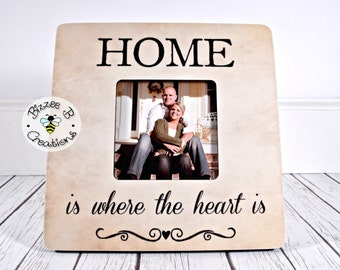 ON SALE New Home Picture Frame, Realtor Closing Gift, Mortgage Closing Gift, Home Is Where The Heart Is, Housewarming Gift, Home Decor