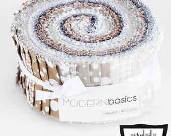 Michael Miller Modern Basics Neutral Jelly Roll - 45 Pieces