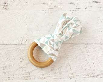 Baby Wooden Teething Ring-Teal and Grey-Triangles-Fabric and Wooden Teething Ring with Crinkle Material Inside- Sensory Toy