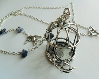 Lapis Birdcage Necklace in Tibetan Silver with Lapis Lazuli - Long-length Pendant Necklace with Bird and Gemstones - Birds - Spring
