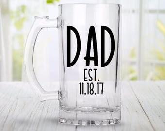 Fathers Day Mug, Fathers Day Beer Mug, Fathers Day Present, Dad Est. Glass, Dad Established Mug
