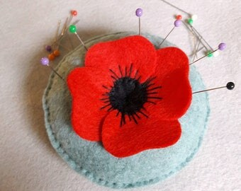 Felt Poppy Pincushion designed by Cherry Parker