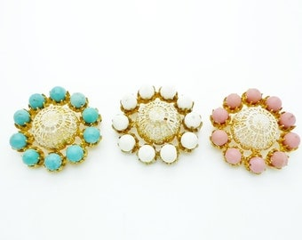 Mitchel Maer for Christian Dior Three Vintage Brooches Gilt Gold Filigree Turquoise White Pink