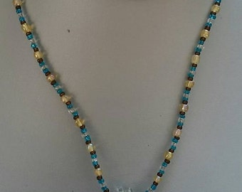 Blue Swirl with Brown Flecks Beaded Necklace