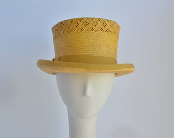 Large : Yellow Straw Top Hat
