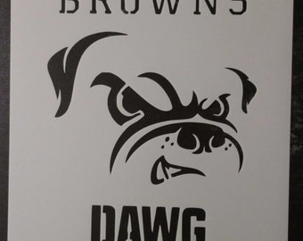 Cleveland Browns Dog Dawg Pound Custom Stencil FAST FREE SHIPPING