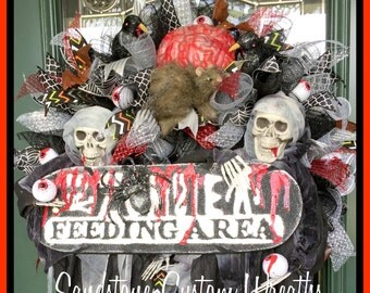 Halloween Zombie Mesh Scary Wreath, Skeleton Scary Mesh Wreath, skeleton Halloween Decor, Zombie wreath, Halloween Decor, skeleton decor