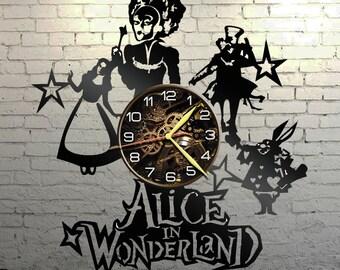 VINYL WALL CLOCK Alice in wonderland, best gift, original gift
