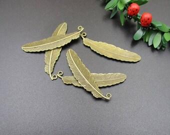 10Pcs 15x52mm SALE Bronze Feather Charms-p1262-A