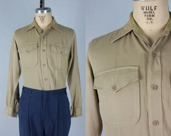 "Vintage 1940s Men's Shirt | 40s 50s ""Elbeco"" Officer's Regulation Gabardine Uniform Shirt 