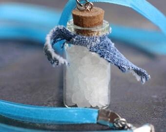 Supernatural rock salt necklace Blue with denim SPN