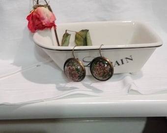 Floral earrings - flowers cast in plastic