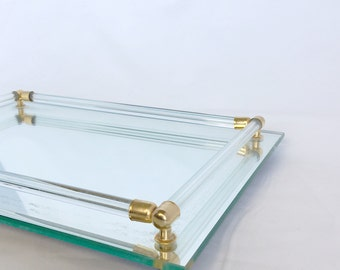 Mirrored tray. Vintage. Perfume tray. Decorative tray. Mid century. Gold. Gift. 1950's