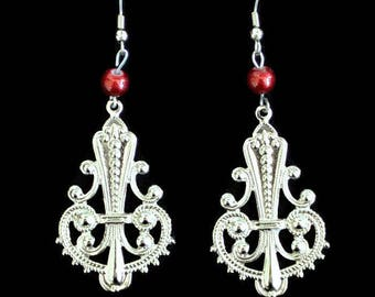 Chandelier Earrings in Silver Tone With Red Bead Accent, Boho Jewelry