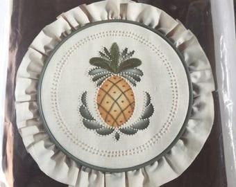 CHARMIN Cross Stitch Kit  # 08-77 Pineapple H o-o-o p s Hoop Included