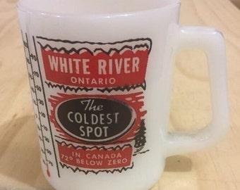 Vintage White River Ontario Coffee Mug Milk Glass Souvenir ID15-12