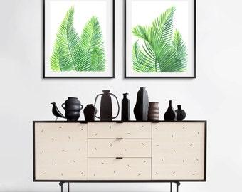Set of two, green leaves prints, areca palm watercolor prints, green leaf watercolor print, kitchen print, printable tropical watercolor art