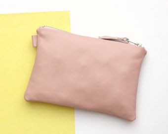 Pale Pink Leather Bag // Small Leather Pouch // Bridesmaid Gift // Leather Clutch Bag // Zipper Leather Pouch // Leather Make up Bag