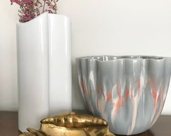 Tall White Ceramic Vase//Unique Glazed Pottery//Modern Porcelain Vessel