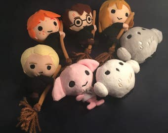 Harry Potter Soft Plush Beanie Keyring Keychain Key Ring chain Toy Doll - Hermoine / Ron / Hedwig Owl / Dobby / Errol