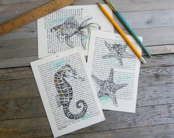 Bathroom decorBook art, Nautical picture set, Sea life prints, Recycled paper, Set of 3, Dorm decor, Hipster room decor, Bathroom decor