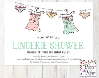 Lingerie Shower Invitation - Clothesline Lingerie Shower - Wedding Shower - Bachelorette - Hen Party - Bachelorette Party - DIGITAL FILE