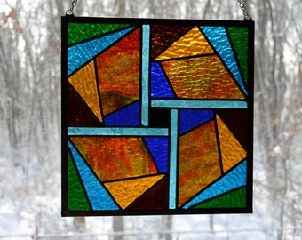 Leaded stained glass panel square fractured wheel, green, red, blue, yellow, 11 x 11