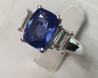 Three Stone Sapphire Diamond Platinum Ring