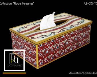 Tissue box - Fleurs persanes - Reverse painting on glass - FLE-05-TIS