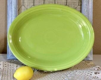 Vintage 1950's Fiesta Oval Serving  Platter in Original Chartreuse Glaze - Retired Color
