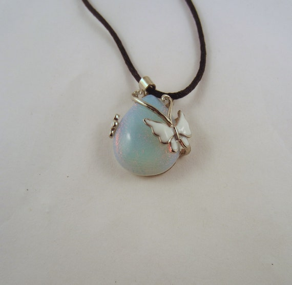 Butterfly Pendant Necklace Opalite Natural Crystal Pendant, Stone Jewelry