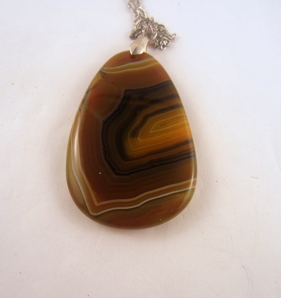 Agate  Necklace brown Dragon Vein rock Pendant,Agate gemstone