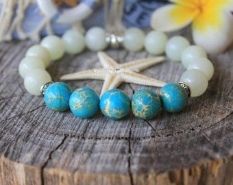 New Jade Sea Sediment Jasper bracelet. Boho beach bracelet. Yoga crystal bracelet. Boho jewelry. Gift for her.