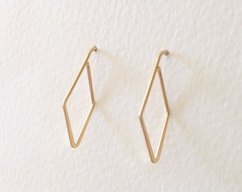 Geometric Hook Earrings, Shiny Gold-Plated, Diamond Shaped Hook Earrings, Rhombus Earrings
