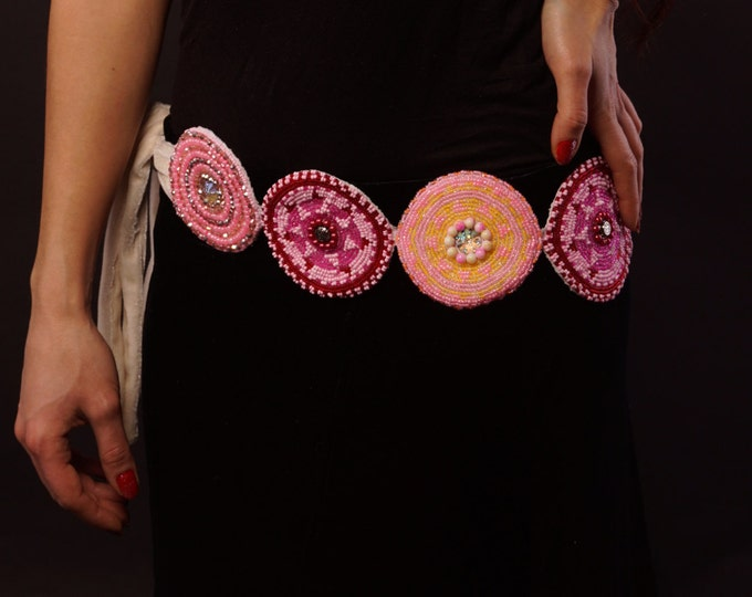 Tribal belt, handmade women belt, embroidered belt, ethnic belt, pink vine red tribal belt, boho belt, tribal costume, dance costume belt