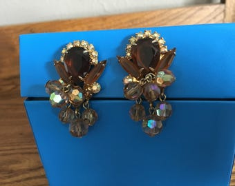 Juliana D&E Topaz, Cognac, Clear AB Rhinestones with Faceted Beads Earrings 1134