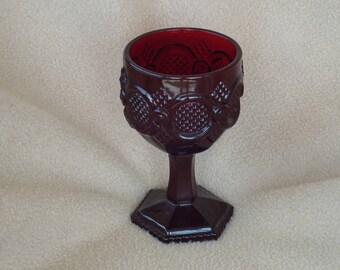 Vintage Avon 1876 Cape Cod Ruby Water Goblet