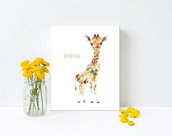 Giraffe baby Print - Beyoutiful print, beyoubeautiful art, giraffe art, canvas wall art, ready to hang canvas, gift for girlfriend, nursery