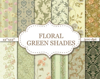 """FLORAL GREEN SHADES Floral digital paper Green Floral Digital Paper Floral Pattern Floral  background Green Digital Papers 12""""x12"""" #P127"""