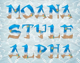 """5"""" MOANA STYLE Alphabet and 4'' Numbers with flowers Summer Beach Alpha Water Sand Alphabet Printable Letters Scrapbook Alpha #L010"""
