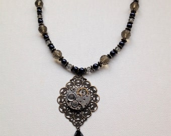 Steampunk beaded necklace