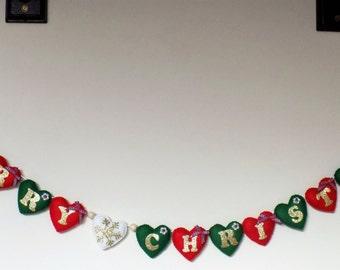 Merry Christmas garland, christmas adjustable garland, adjustable heart garland