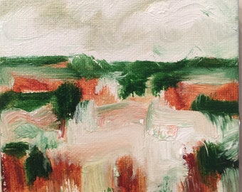 Original 4x4 Abstract Marsh Scene Painting Oil on Canvas