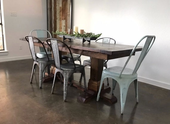 Farmhouse dining table glam and chic for Glam dining table