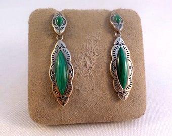 Southwestern Shube Designer Turquoise & Sterling Dangle Earrings