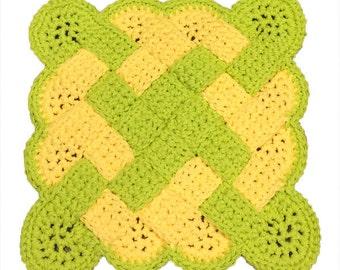 Yellow and Green Pot Holder, Kitchen Hot Pad, Crochet Woven Potholder, Crochet Hot Pad, Hotpad, Potholder