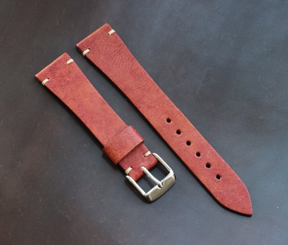 20/16mm vintage style leather watch band with simple stitching