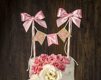 Personalized Cake topper, Cake bunting, cake banner, pink and gold decoration