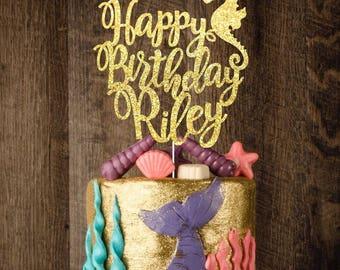 Seahorse custom cake topper, gold cake topper, birthday cake topper