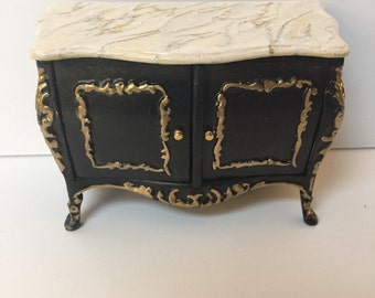 Dollhouse Miniature Two-Door cabinet with Gold Accents and Faux Marble Top